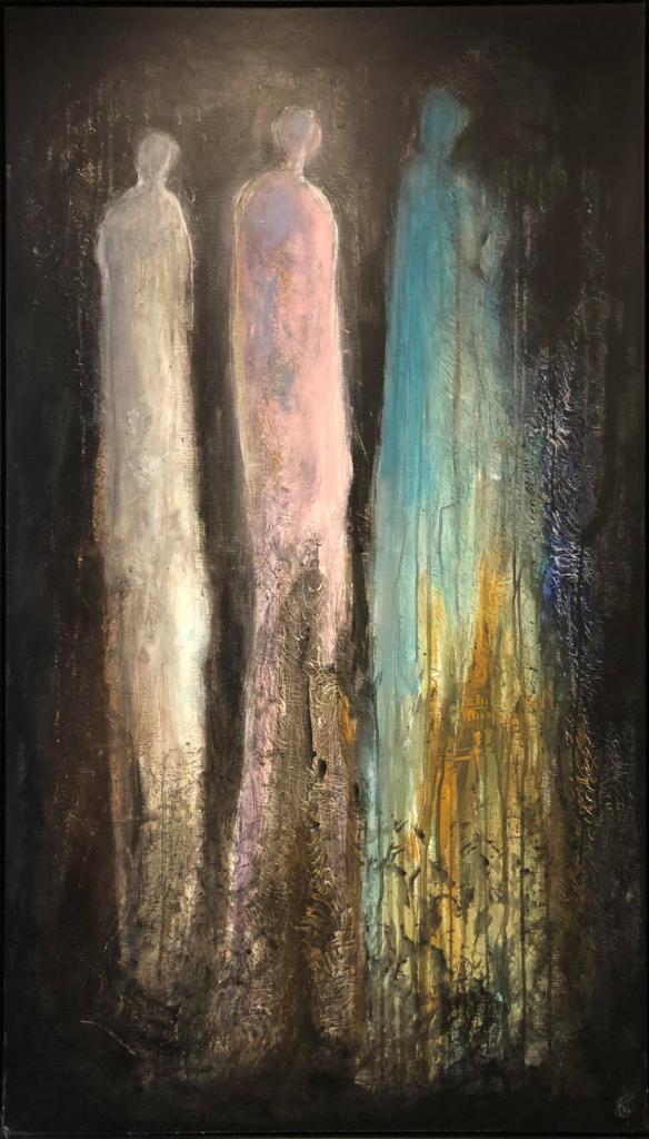 Adskilt men varme - 140x80 - Akryl maleri - kr