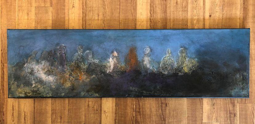 Lun aften - Akryl maleri 140x40 - simonne.dk
